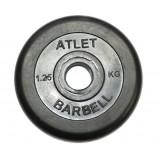 Диск обрезиненный, чёрного цвета, 31 мм, 1,25 кг Atlet