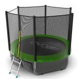 EVO JUMP External 8ft (Green) + Lower net. Батут с внешней сеткой и лестницей, диаметр 8ft (зеленый) + нижняя сеть